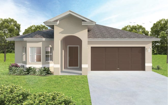 "The Paraiso, a three-bedroom plus study plan, is one of the ""quick start"" homes available at Arrowhead Reserve."