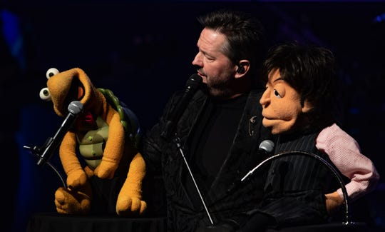Terry Fator shares repartee with Winston, his original dummy, and Sir Paul McCartney.