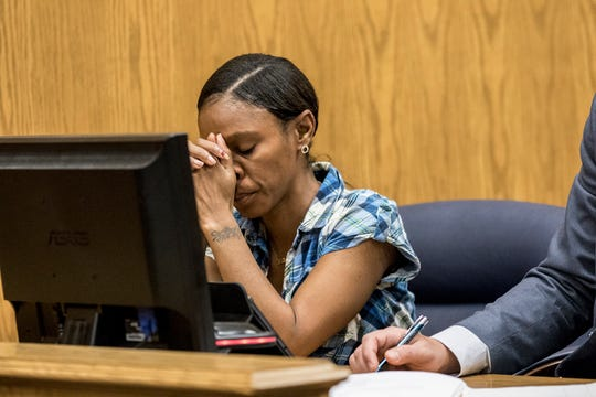 Keontraye Marks reacts as Judge Branstool imposes a 24 month sentence for a third degree felony of reckless homicide. Marks fatally stabbed 35 year old Theadore Collins in October of 2018 during an altercation.