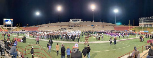 Royal Knight Regiment at Oñate High School took fifth place at the NMSU Tournament of Bands at Aggie Memorial Stadium on Saturday. Nov. 2.