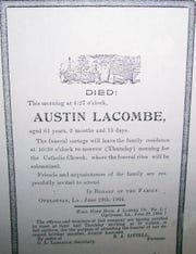 Death notice of Austin Lacombe that was posted on buildings and poles around town to announce his passing on June 29, 1904.