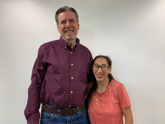 Ron Stiff poses with Blanca at The Desert Sun offices on Nov. 1, 2019