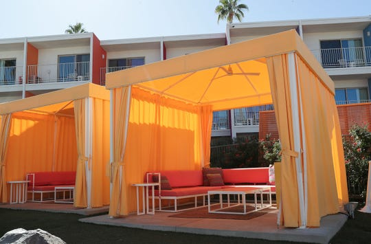 The Saguaro Palm Springs added poolside cabanas during a recent refresh of the resort, November 7, 2019.