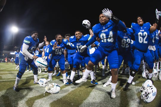 The UWF Argonauts football team put on a show in front of a crowd of more than 6,000 people for their Homecoming game against Delta State, dominating the Statesmen 48-3 in Blue Wahoos Stadium on Oct. 5, 2019.