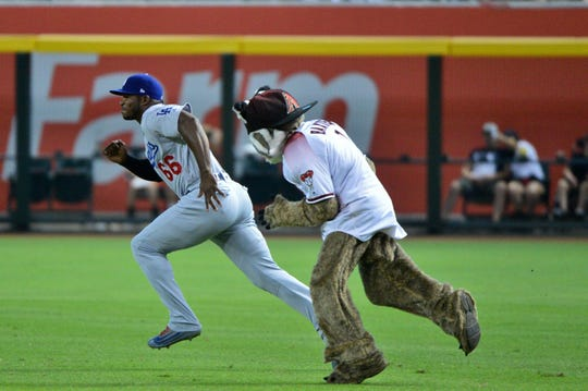 Arizona Diamondbacks mascot D Baxter chases Los Angeles Dodgers right fielder Yasiel Puig (66) prior to a game at Chase Field in 2019.
