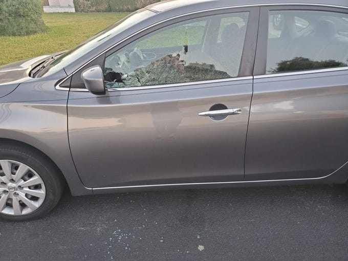 A vehicle that was shot at during a string of more than 50 drive-by shootings that took place across Phoenix, Glendale and Surprise in late October. Two men have been arrested for their alleged involvement in the shootings.