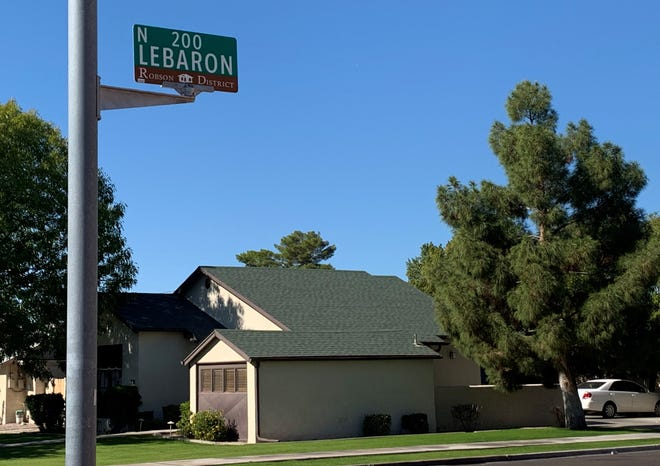 A sign for LeBaron Street, named after the early Mesa family.