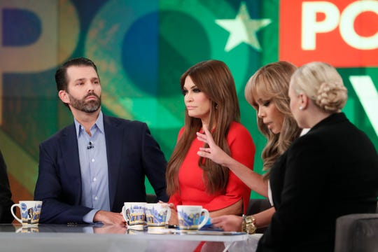 "There was tension on ""The View"" on Nov. 2019, as Donald Trump Jr. and Kimberly Guilfoyle (center) appeared with Sunny Hostin and Meghan McCain."