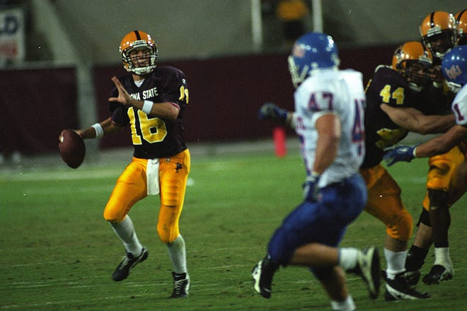 ASU quarterback Jake Plummer looks downfield during a game against Boise State on Oct. 5, 1996 at Sun Devil Stadium.