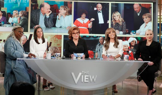 """""""The View"""" celebrates its 5,000th episode with Whoopi Goldberg (from left), Abby Huntsman, Joy Behar, Sunny Hostin and Meghan McCain on Nov. 7, 2019."""