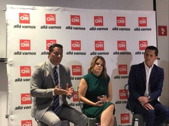 """Fernando del Rincón, María Santana y Guillermo Blanco, en la presentación del documental """"El Chapo: Dos Rostros de un Capo"""", que se estrena hoy en CNN."""