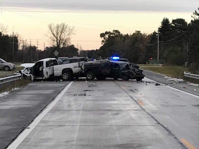 Three trucks were involved in a traffic crash Thursday morning in Burtchville Township.