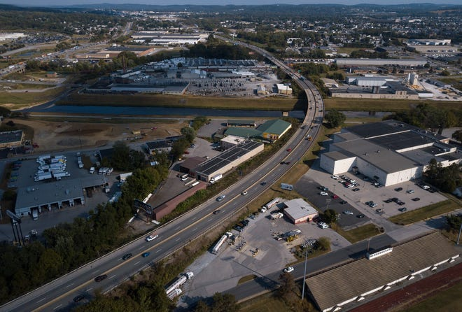 """According to a """"Displacements"""" map on the I-83 widening project website, an entire neighborhood in North York, just south of the southbound entrance ramp on the west side of the highway, and several businesses on the east side would be effected, Wednesday, October 2, 2019John A. Pavoncello photo"""