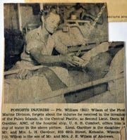 A news clipping of Doris Gardner as she served on the USS Comfort during WWII.