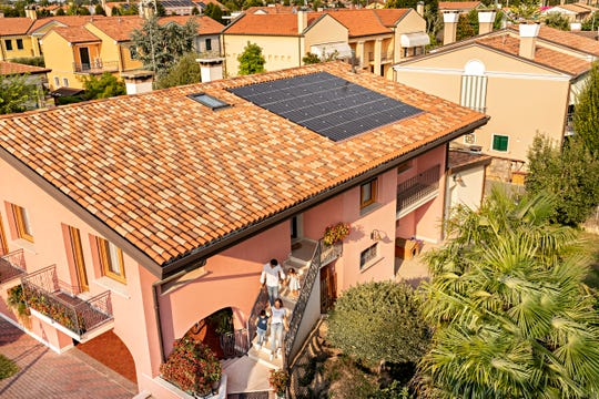 REC Group solar panels are on a house near Venice, Italy.