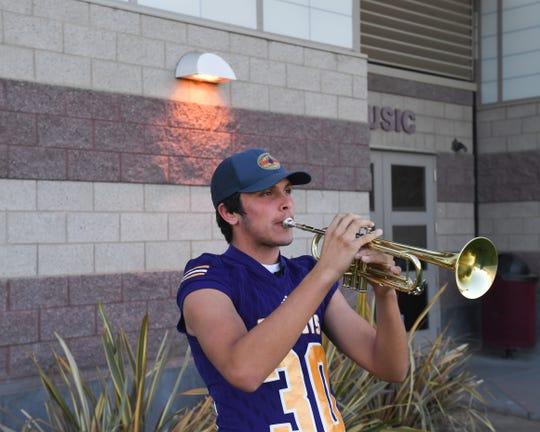 Salinas linebacker Damian Sampaga's played trumpet since he started high school.