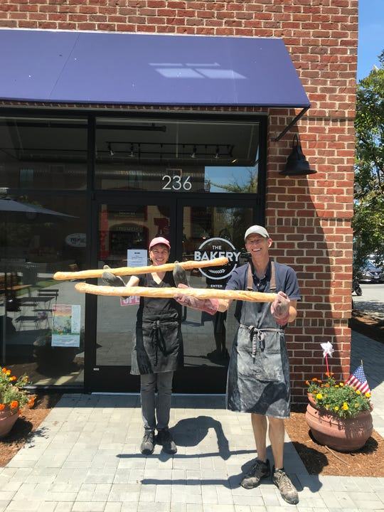 Bakery On Mason Owners Louise Orlando And Andrew Barbour baked extra long baguettes On Bastille Day.
