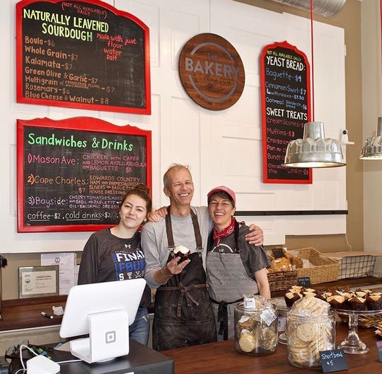 Bakery On Mason Owners Louise Orlando And Andrew Barbour (right) with their daughter Katherine on Opening Day.