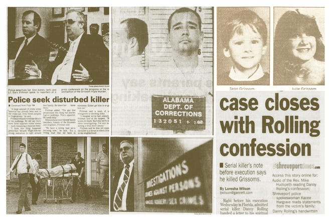 Collage of varying file photos and newspaper clippings relating to the 1989 Grissom family murders.