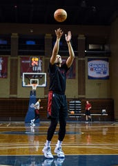 Skyler Flatten shoots a free throw during Skyforce practice on Wednesday, Nov. 6, at the Sanford Pentagon.
