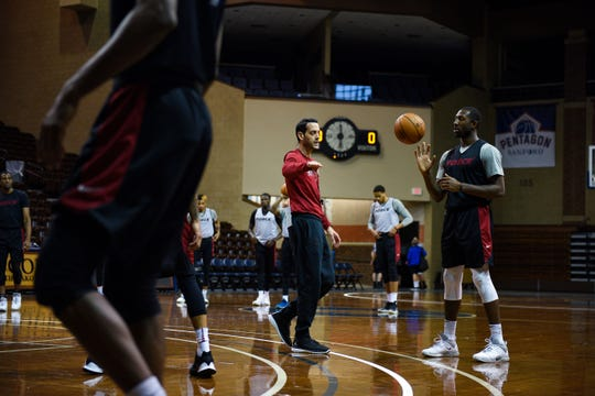 Sioux Falls Skyforce coach Eric Glass describes an offensive technique to the team during practice on Wednesday, Nov. 6, at the Sanford Pentagon.