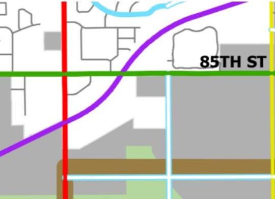 The purple line in this map represents the planned path for Highway 100 near 85th Street and Minnesota Avenue. It runs through the Akerson Addition, whose owner is tired of waiting for the high-speed arterial street to be developed.