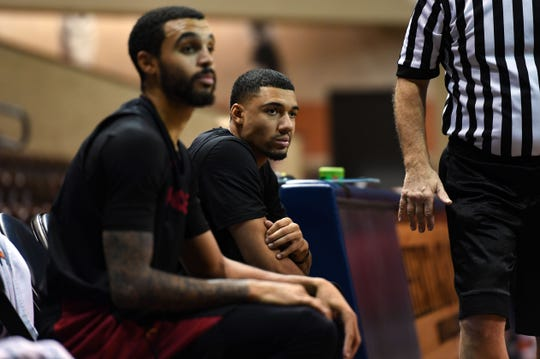 Skyler Flatten, right, watches his Skyforce teammates scrimmage during practice on Wednesday, Nov. 6, at the Sanford Pentagon.