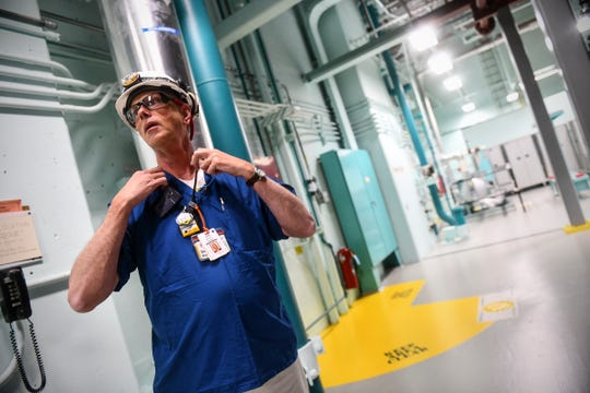 U.S. Nuclear Regulatory Commission resident inspector Donald Krause begins a walking tour Wednesday, Nov. 6, 2019, at the Monticello Nuclear Generating Station.