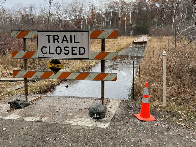 Sections of the Quarry Park and Nature Reserve floating boardwalk are removed for repairs.