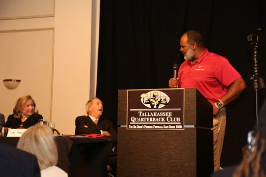 FSU interim head football coach Odell Haggins talks at Bobby Bowden's 90th Birthday Party Tuesday night.