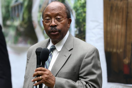 City Commissioner and Mayor Pro Tem Curtis Richardson speaks at a ceremony held to recognize the brand new home of Henry Murphy Jr. as the 1000th home rehabilitation by the Tallahassee Urban League Thursday, Nov. 7, 2019.