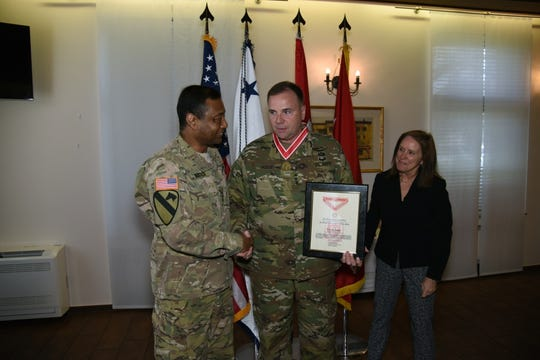 Lt. Gen. Thomas P. Bostick, (left), Chief of Engineers of the United States Army and Commanding General of the U.S. Army Corps of Engineers, and the Army Engineer Association Presents Lt. Gen. Ben Hodges, (center) U.S. Army Europe Commanding General, the Bronze Order of the de Fleury Medal on April 7, 2016 on Clay Kaserne, in Wiesbaden, Germany.