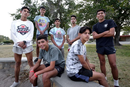 Eastwood's state-bound cross country team includes, from left to right, Juan Olmos, Elias Perez, Andres Gurrola, Victor Anchondo, Victor Parra, Sergio Cuartas and Nathan Hernandez.