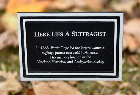 In 1868, Portia Gage led the largest women's suffrage protest ever held in America. Her grave resides within Siloam Cemetery in Vineland, pictured here on Thursday, Nov. 7, 2019.