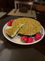 """Pistachio cheesecake from Trattoria 632 in Purchase. The restaurant is offering a """"Dessert Pop-Up"""" for the first-time ever."""