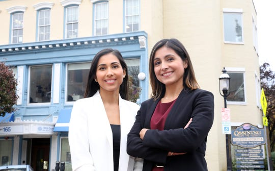 Andrea Ruggiero, 37, right, vice president of community health at Open Door Family Medical Center and her sister, Grace Battaglia, 34, the director of marketing at Open Door outside the center in Ossining Nov. 5, 2019.