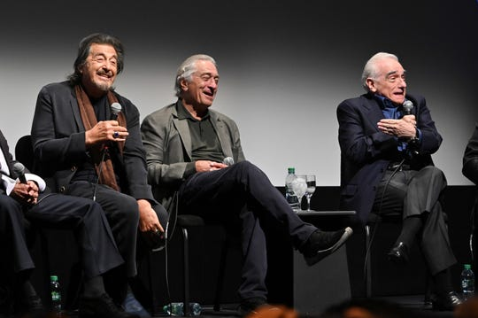 "Al Pacino, Robert De Niro, and Martin Scorsese at ""The Irishman"" press conference during the 57th New York Film Festival at Alice Tully Hall, Lincoln Center on September 27, 2019 in New York City."