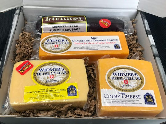 This gift box features Widmer's cheese that has been handcrafted in small batches since 1922 in downtown Theresa, Wis.