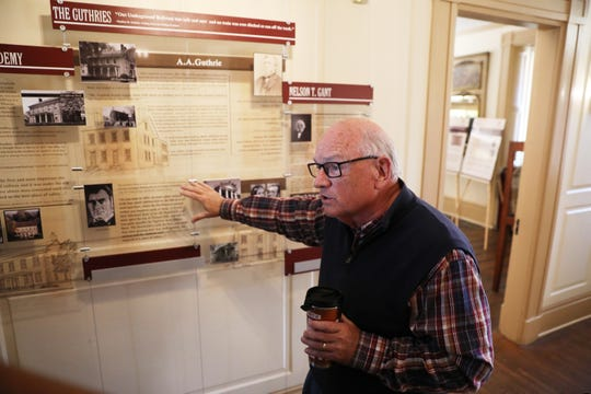 Jim Geyer, director of Muskingum County History, talks about the Underground Railroad display at Stone Academy in Zanesville.