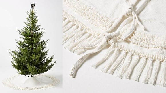 Finish off your classic holiday aesthetic with a white tree skirt.