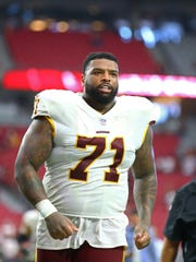 Sep 9, 2018; Glendale, AZ, USA; Washington Redskins offensive tackle Trent Williams (71) against the Arizona Cardinals at State Farm Stadium.