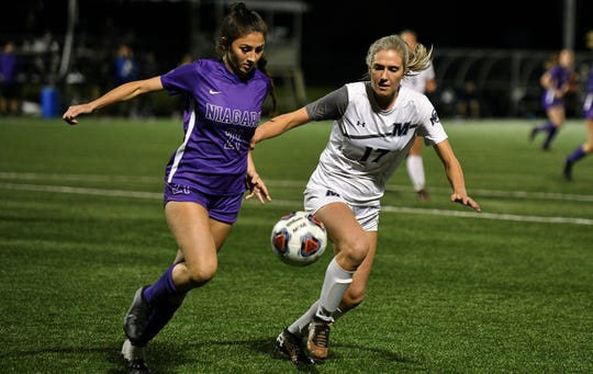 Monmouth's Madie Gibson (17) battles for the ball against Niagara in Thursday night's MAAC Tournament semifinal, which Monmouth won, 3-0.
