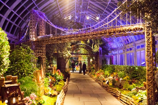 The holiday train show at the New York Botanical Garden in the Bronx depicts city landmarks.