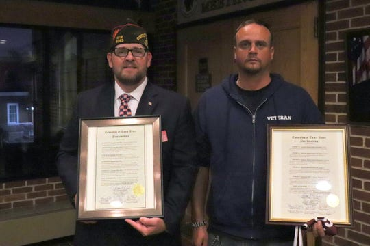 Ocean County Veterans Day Parade Grand Marshals U.S. Army Sgt. John Elley (l) and Marine Corps Sgt. Michael Robert Weigand after receiving proclamations from Toms River Mayor Thomas F. Kelaher and the Township Council in October 2019.