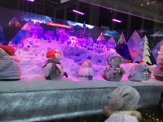 Sunny the Snowpal, an astronaut snow girl, was the mascot of the 2018 holiday window display at Macy's Herald Square.