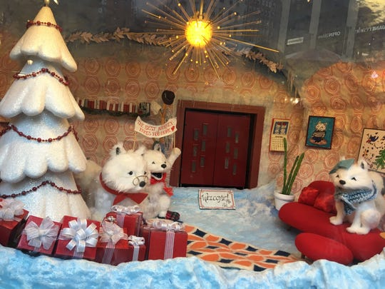 The 2018 holiday window display at Macy's depicted cute animals and Sunny the Snowpal.
