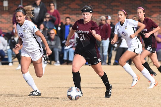 McMurry's Ashland Hansen (21) carries the ball against Hardin-Simmons during the ASC tournament semifinal at the HSU Soccer Complex on Friday, Nov. 8, 2019. The Cowgirls won 2-1 to advance to Sunday's final.