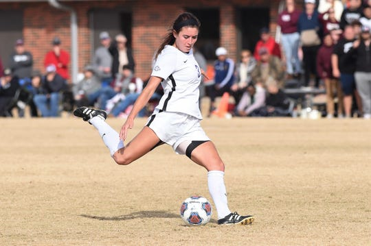Hardin-Simmons' Madelyn Dowell (3) takes a free kick against McMurry during the ASC tournament semifinal at the HSU Soccer Complex on Friday, Nov. 8, 2019. Dowell scored the game-winning goal on a penalty kick in the final seconds as the Cowgirls won 2-1 to advance to Sunday's final.
