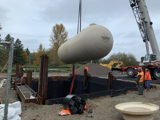 Gasoline storage tanks were installed Oct. 21, 2019, on property at the Mullenix interchange of Highway 16 where Jeff Stokes plans a gas station, deli and market. The tanks are made of fiberglass and have a double-hull design, part of a multi-level leak prevention and detection system, according to project consultants.