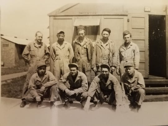 Bill Edwards (second from left, back row), who enlisted in the Army Air Corps in 1941, is pictured with his crew as a member of the 306th Bombardment Group. Edwards was the ground crew chief.